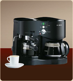 Mr. Coffee 4-Shot Espresso Machine and 8-Cup Coffee Maker Combo ECM21